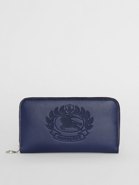 Embossed Crest Two-tone Leather Ziparound Wallet in Regency Blue
