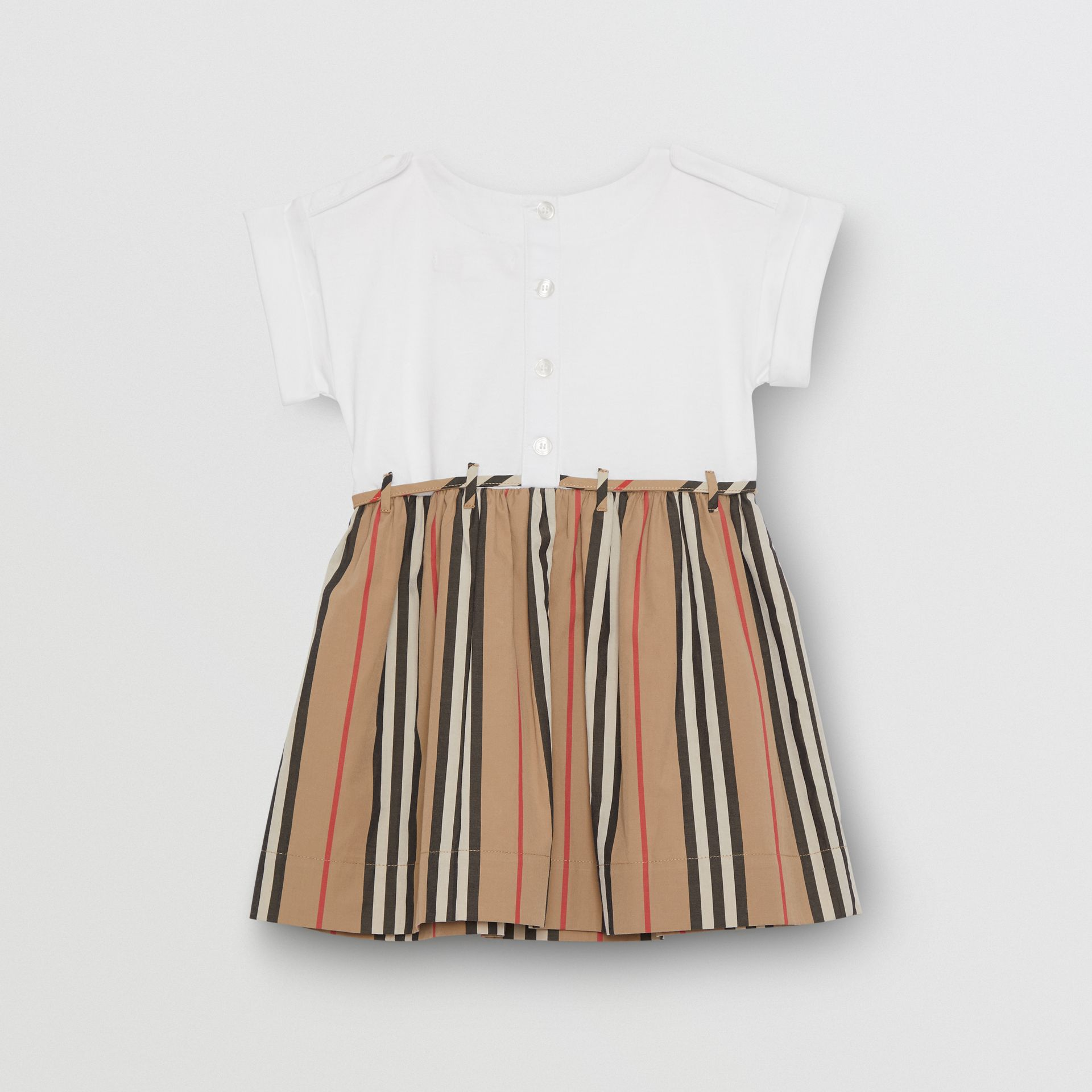 Icon Stripe Cotton Dress in White - Children | Burberry - gallery image 3