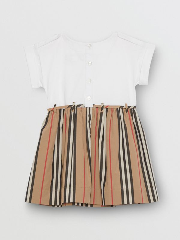 Icon Stripe Cotton Dress in White - Children | Burberry - cell image 3