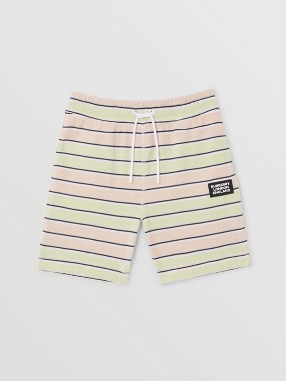 Logo Appliqué Striped Towelling Shorts in Pistachio
