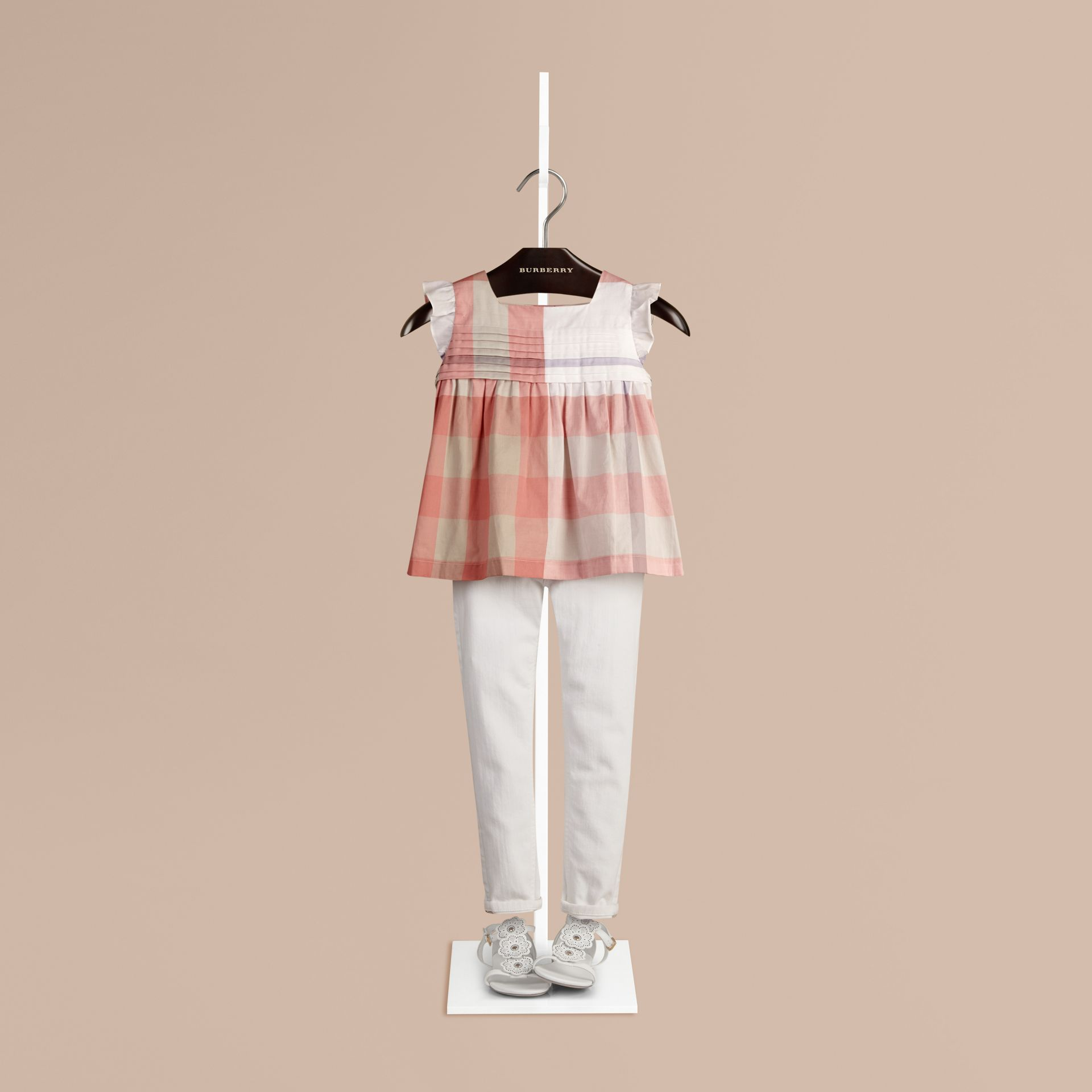 Light copper pink Check Pleat Detail Cotton Blouse Light Copper Pink - gallery image 1