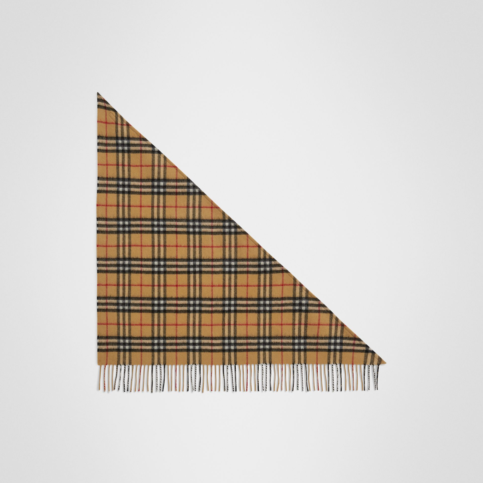 The Mini Burberry Bandana in Vintage Check Cashmere in Antique Yellow | Burberry - gallery image 2