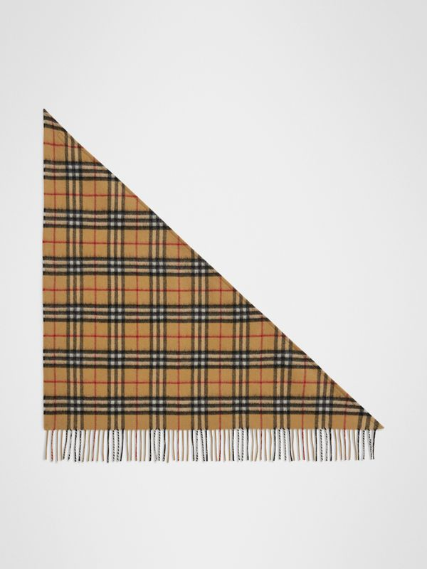 The Mini Burberry Bandana in Vintage Check Cashmere in Antique Yellow | Burberry United Kingdom - cell image 2