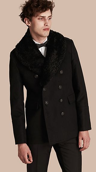 Technical-cotton Moleskin Pea Coat with Shearling Collar