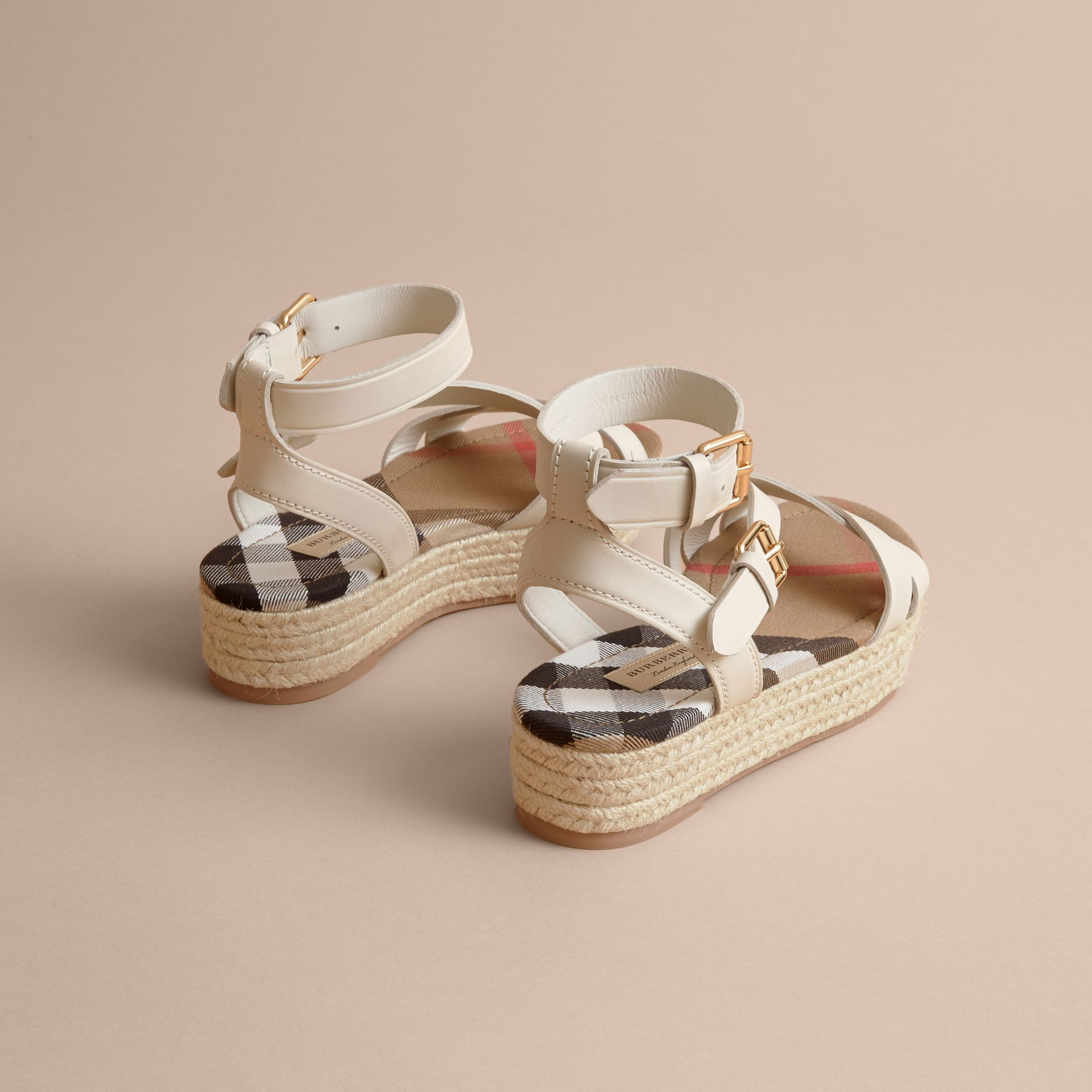 Leather and House Check Espadrille Sandals in Off White - Women | Burberry - gallery image 3