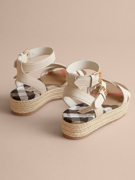 Leather and House Check Espadrille Sandals in Off White - Women | Burberry - cell image 3