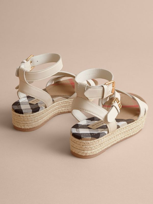 Leather and House Check Espadrille Sandals in Off White | Burberry United States - cell image 3
