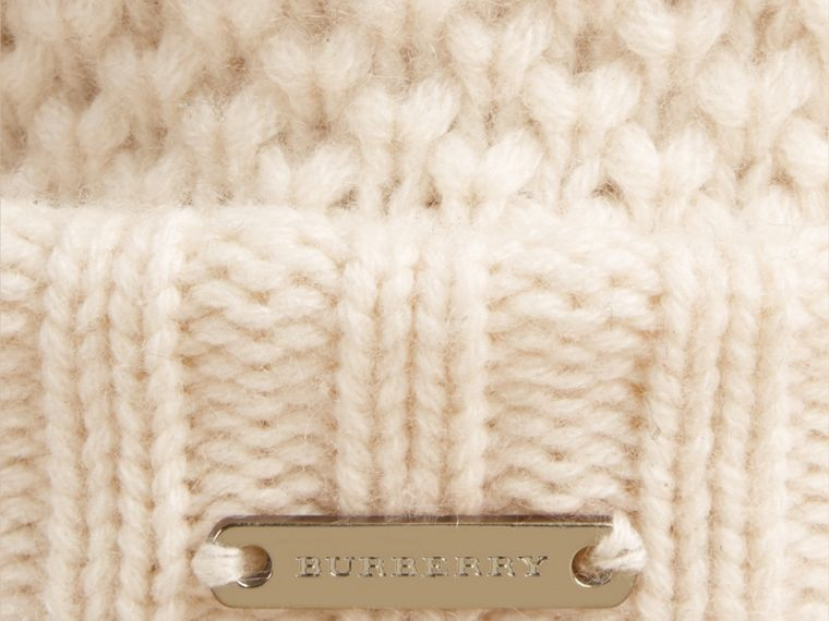 Fur Pom-Pom Beanie in Ivory - Women | Burberry Australia - cell image 1