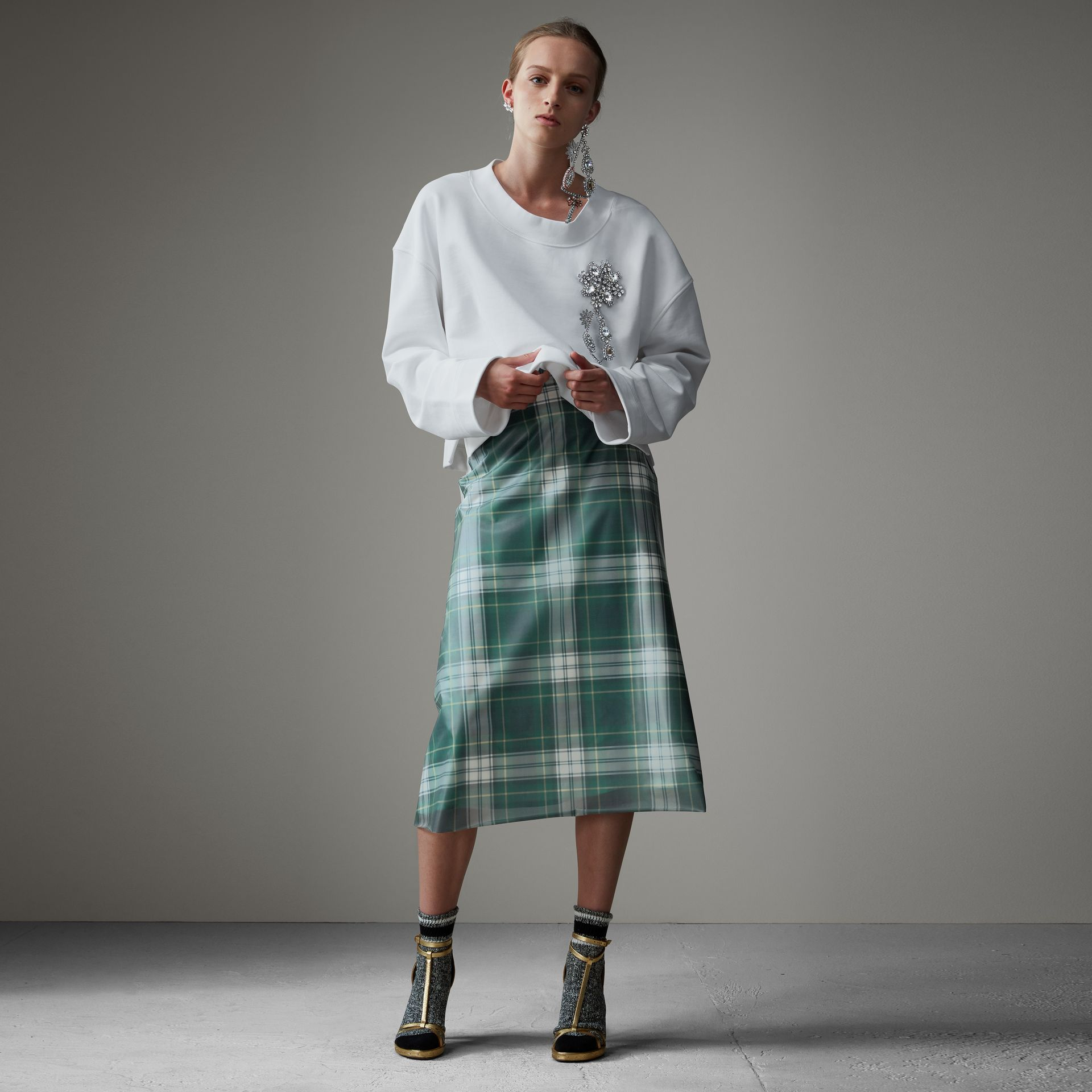 Silk-lined Tartan Plastic A-line Skirt in Green - Women | Burberry - gallery image 0