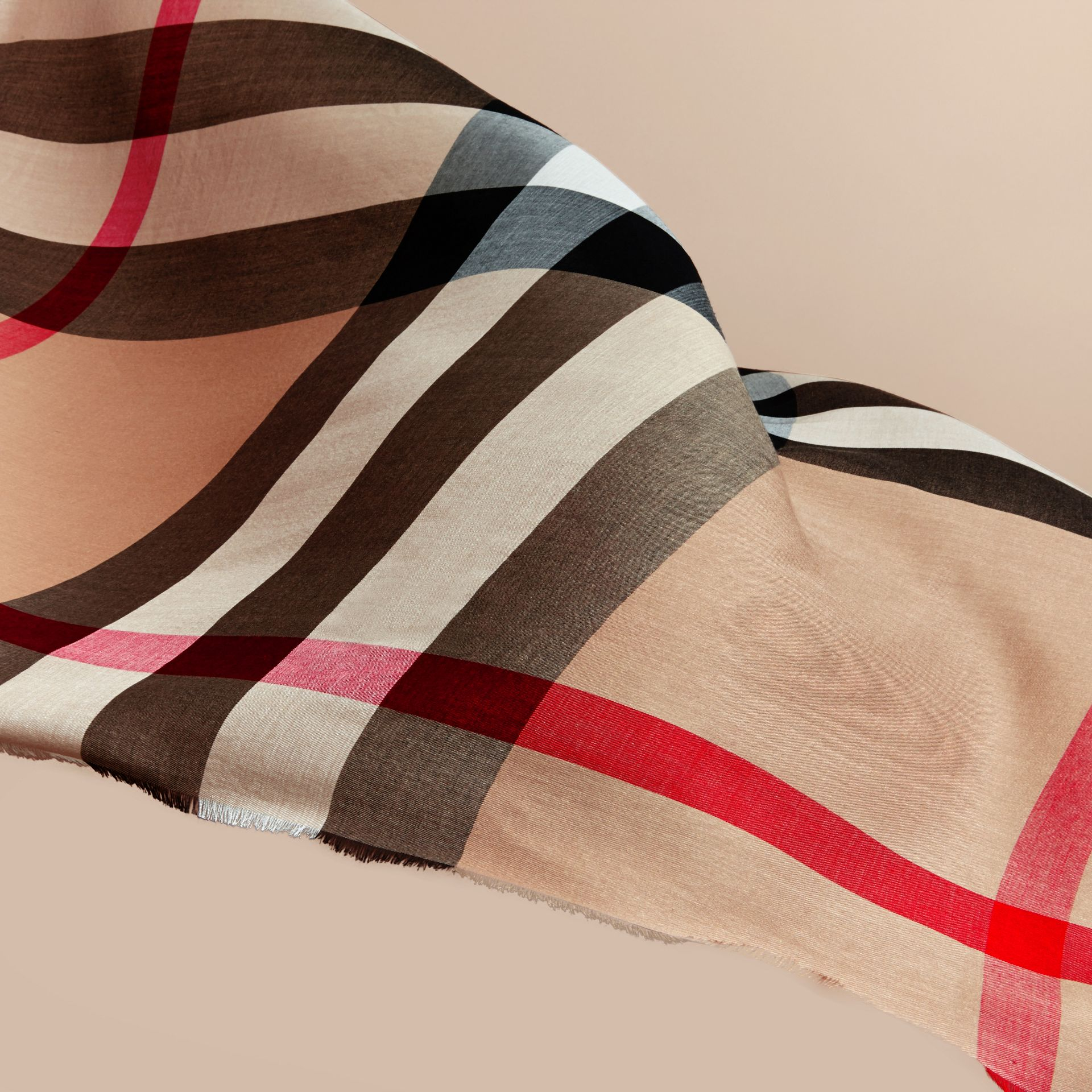 Large Lightweight Check Silk Modal Wool Square Scarf in Camel | Burberry - gallery image 4