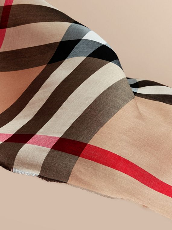 Large Lightweight Check Silk Modal Wool Square Scarf in Camel | Burberry - cell image 3