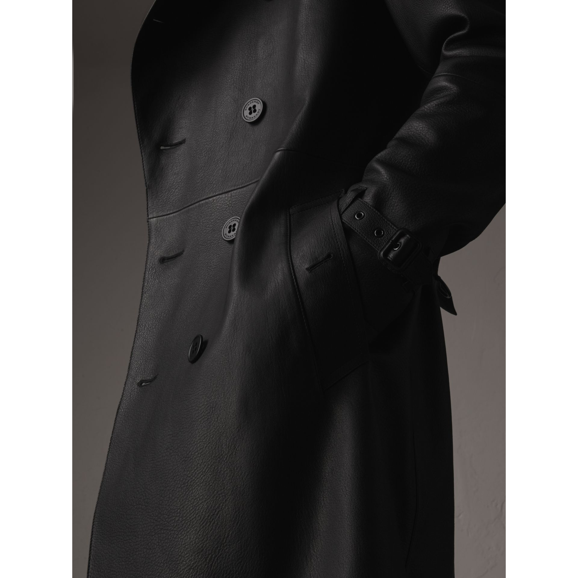 Lambskin Trench Coat in Black - Men | Burberry - gallery image 2