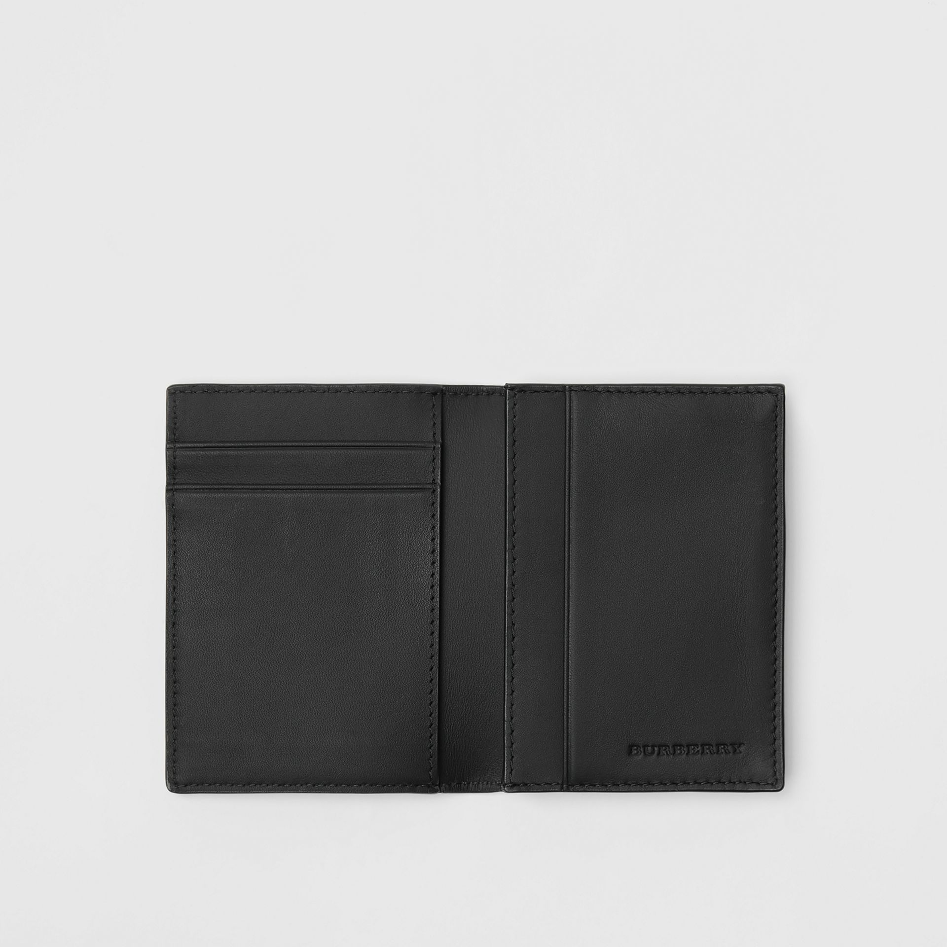 London Check and Leather Folding Card Case in Charcoal/black - Men | Burberry Singapore - gallery image 2