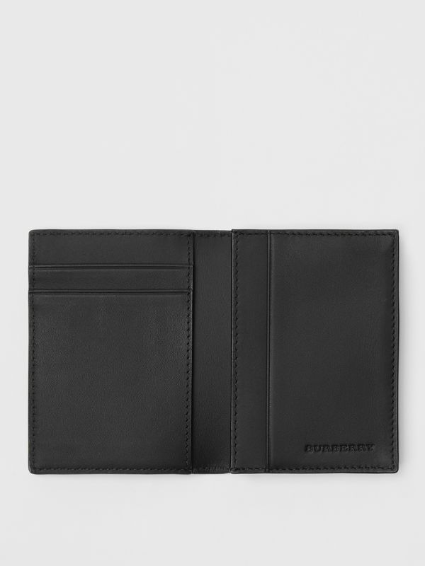 London Check and Leather Folding Card Case in Charcoal/black - Men | Burberry Canada - cell image 2
