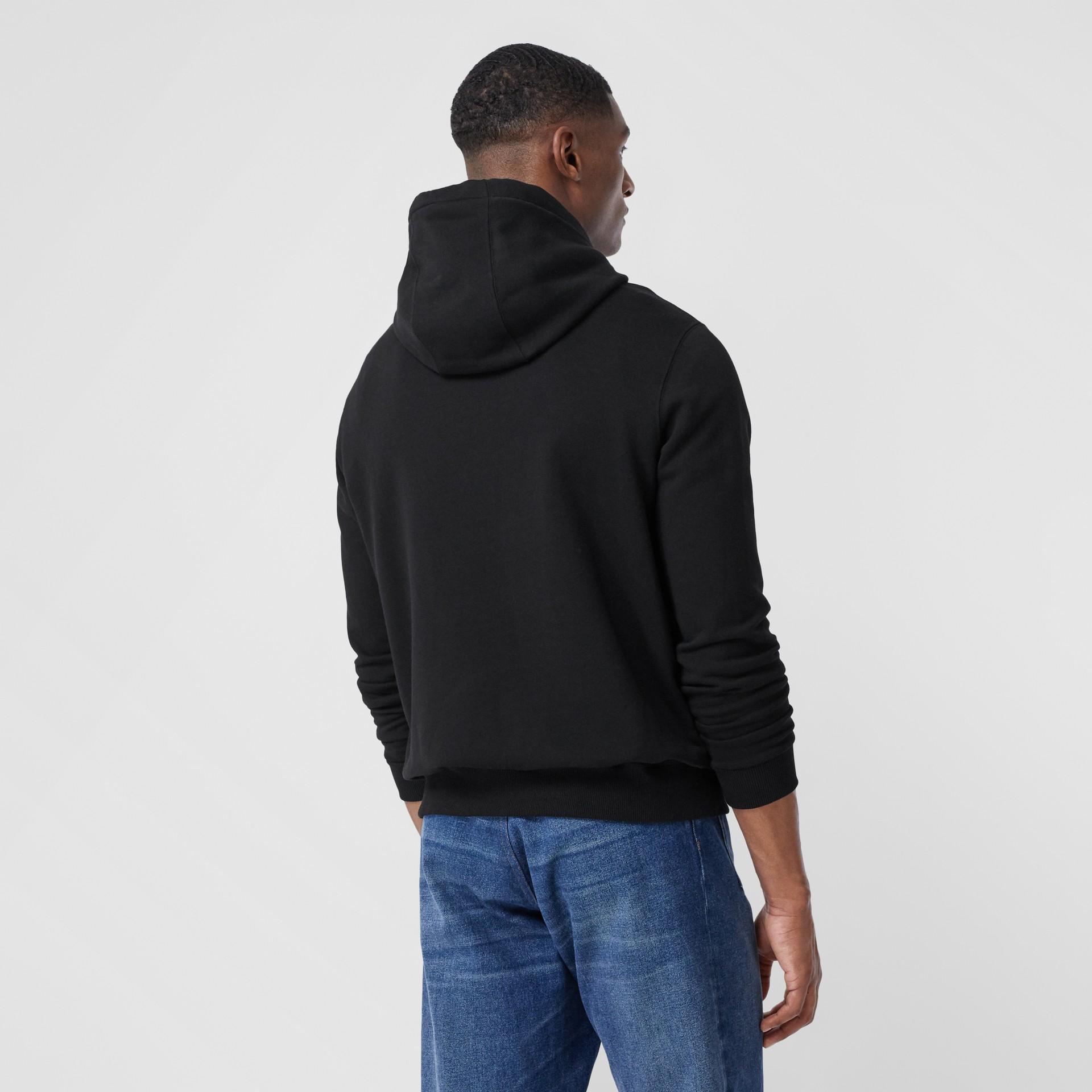 Monogram Motif Cotton Hoodie in Black - Men | Burberry - gallery image 2