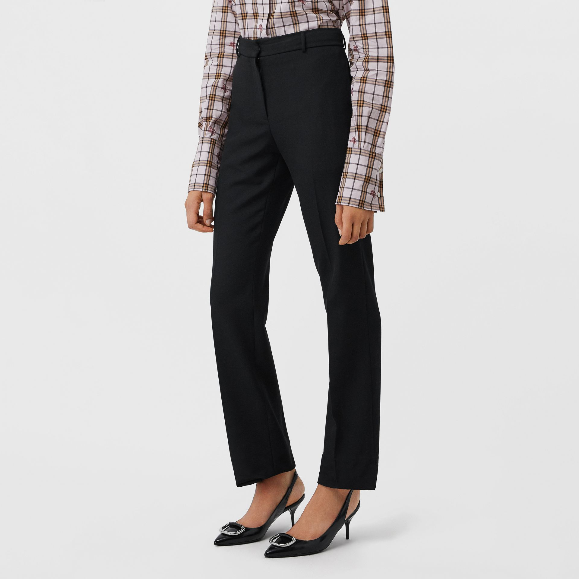 Straight Fit Stretch Wool Tailored Trousers in Black - Women | Burberry - gallery image 4