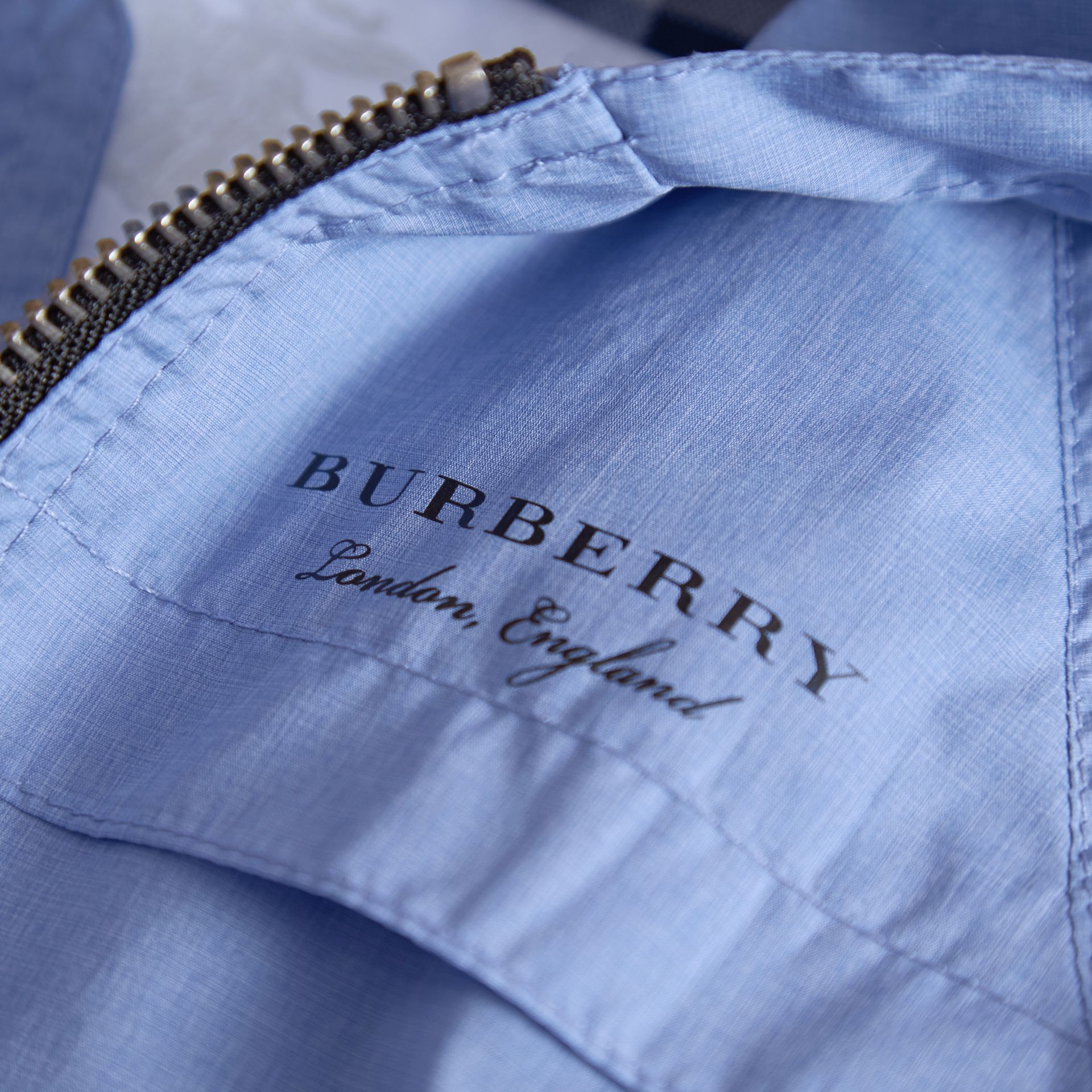 Showerproof Hooded Technical Jacket in Hydrangea Blue | Burberry - gallery image 2