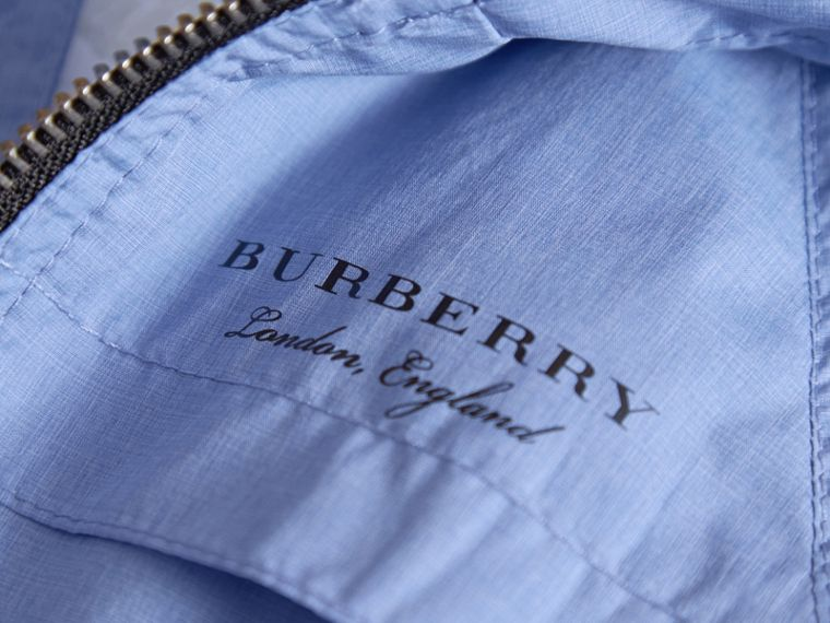Showerproof Hooded Technical Jacket in Hydrangea Blue | Burberry - cell image 1