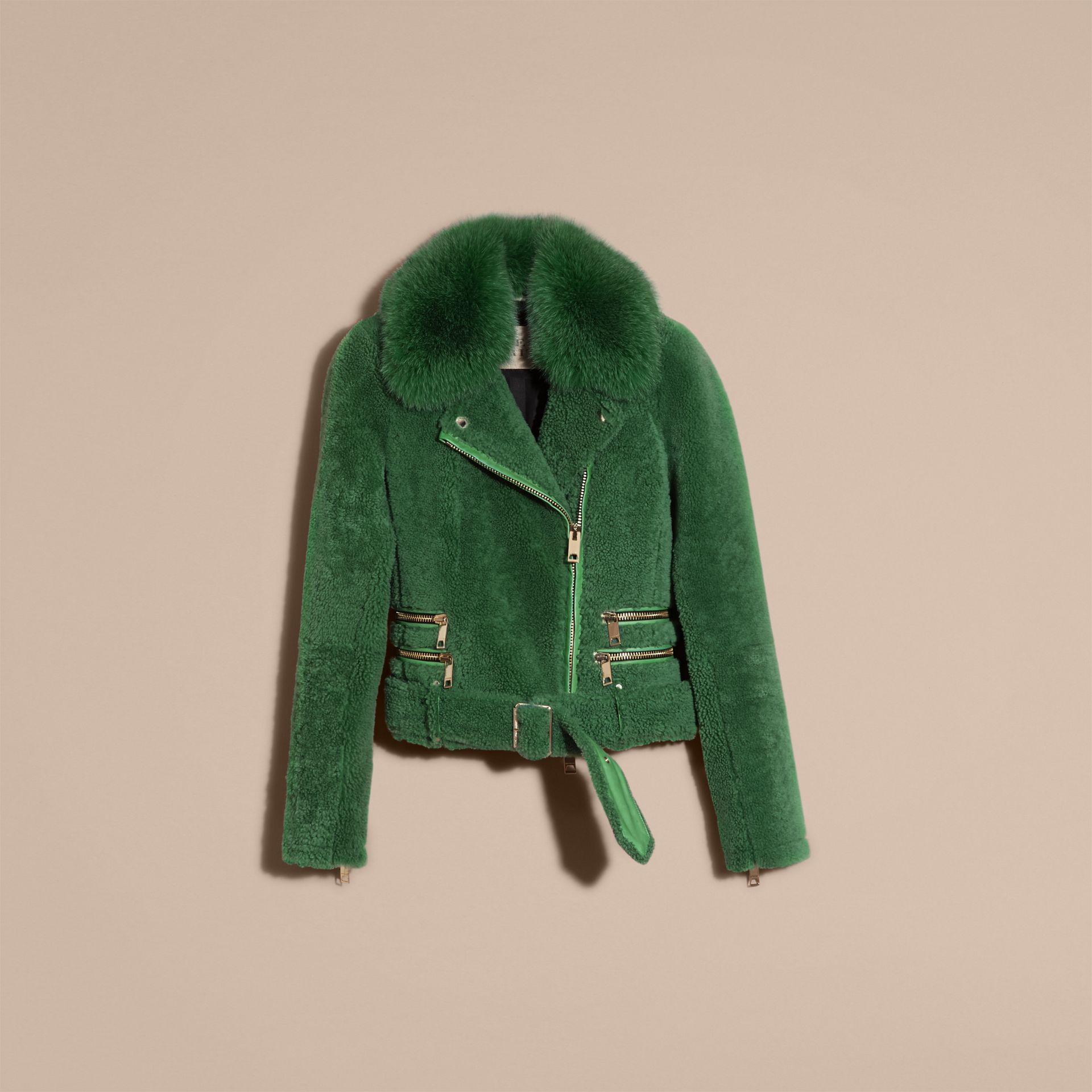 Pigment green Shearling Biker Jacket with Fur Collar Pigment Green - gallery image 4