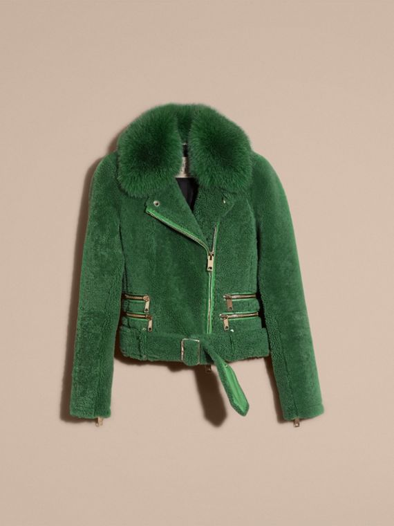 Pigment green Shearling Biker Jacket with Fur Collar Pigment Green - cell image 3