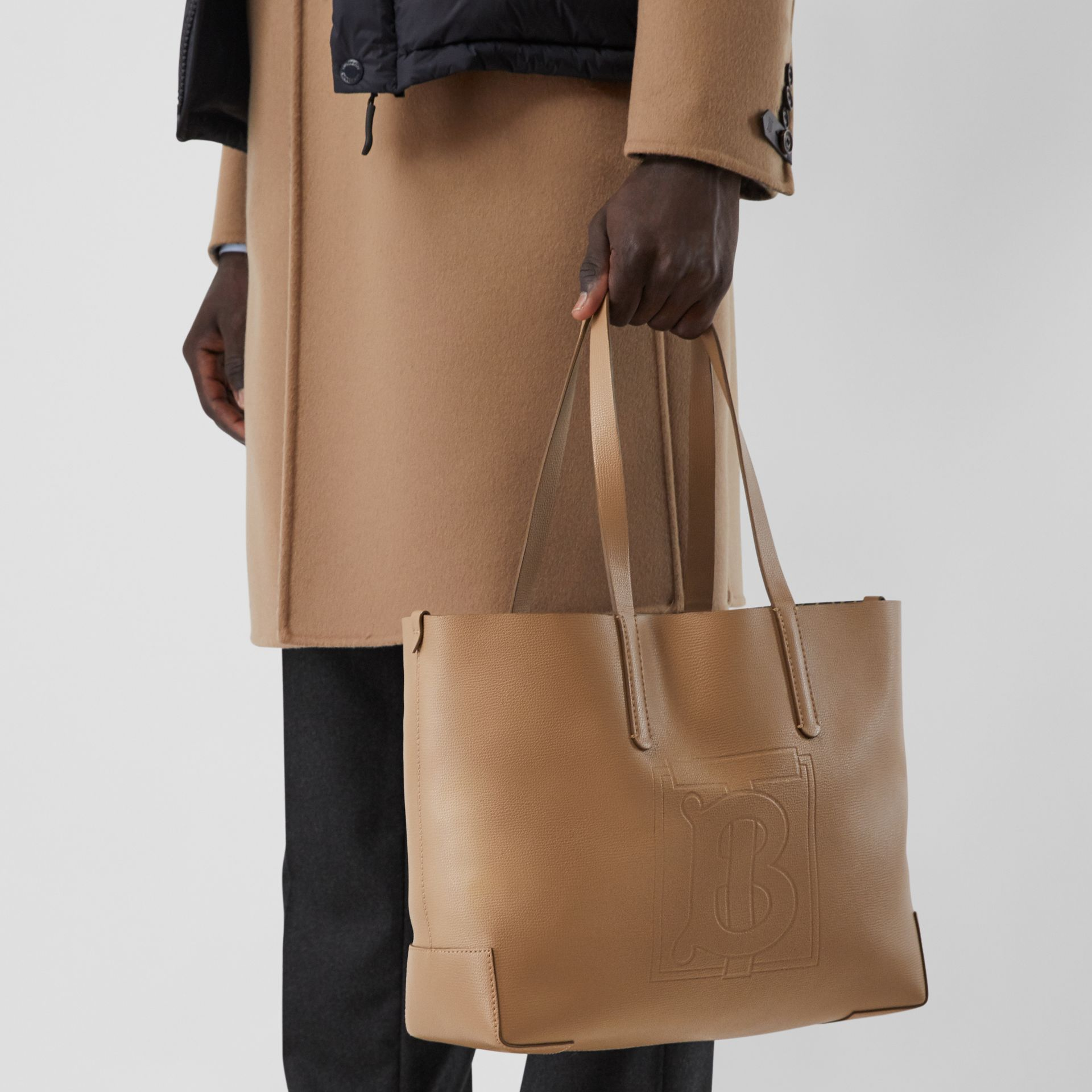 Embossed Monogram Motif Leather Tote in Camel - Women | Burberry - gallery image 3