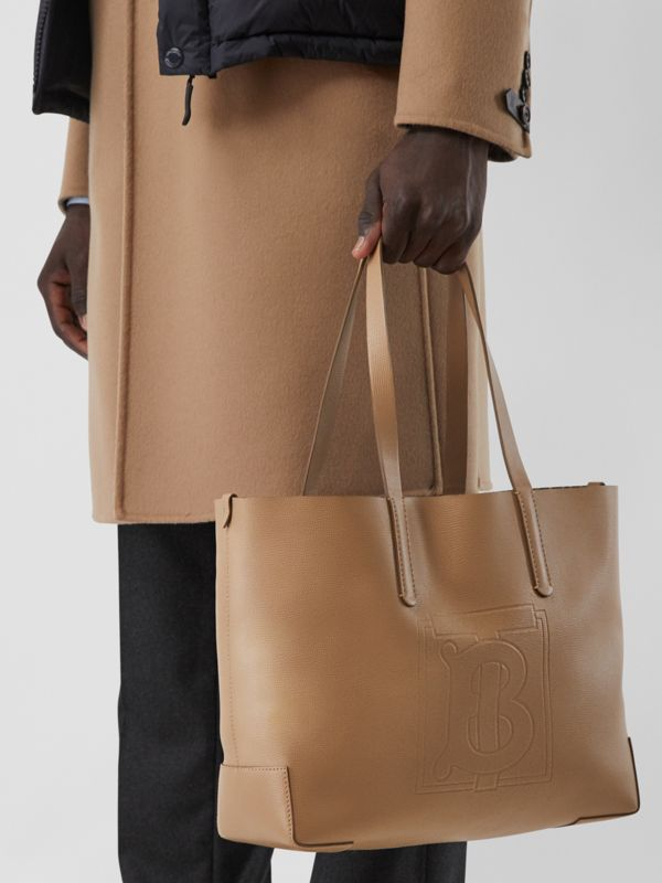 Embossed Monogram Motif Leather Tote in Camel - Women | Burberry - cell image 3