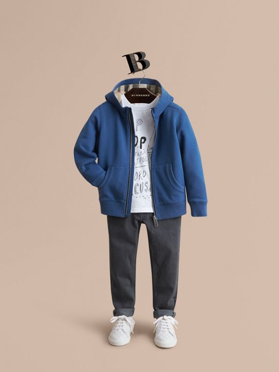 Hooded Cotton Top in Marine Blue - Boy | Burberry