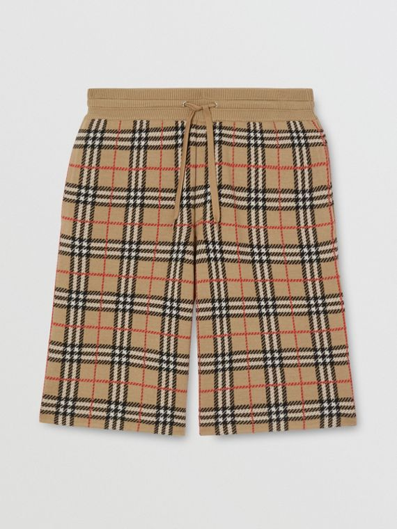 Check Merino Wool Drawcord Shorts in Archive Beige