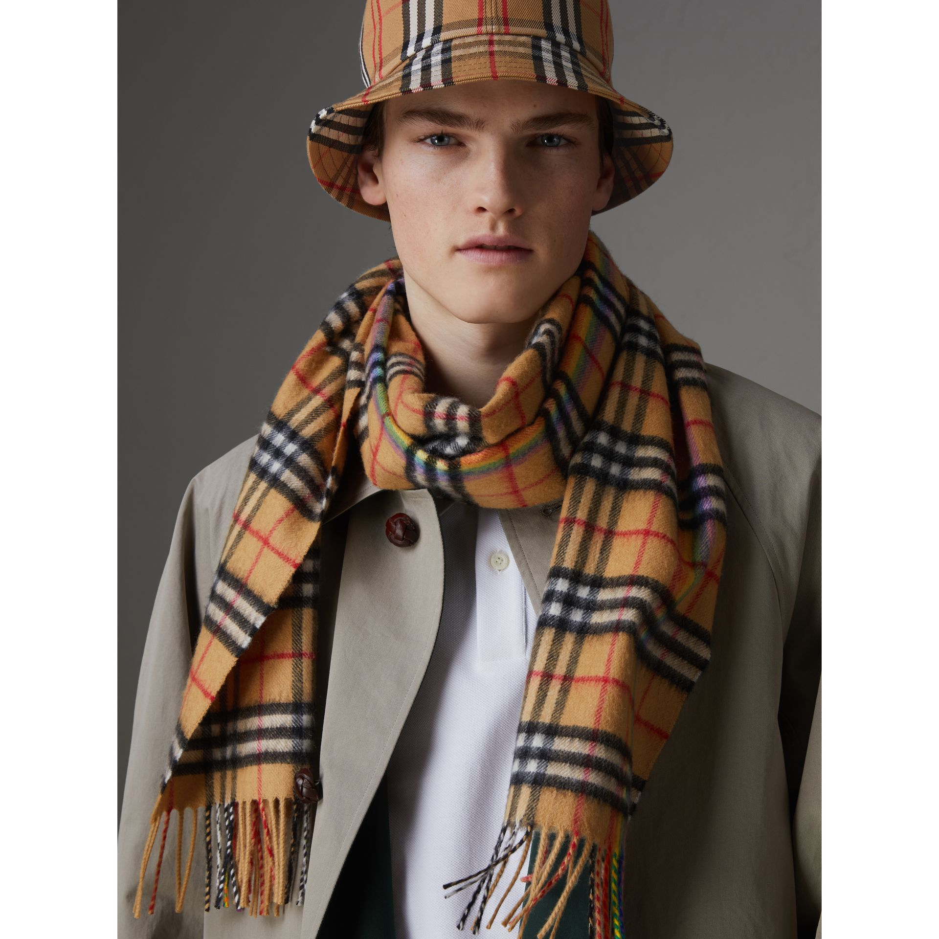 The Classic Rainbow Vintage Check Cashmere Scarf in Antique Yellow | Burberry - gallery image 6