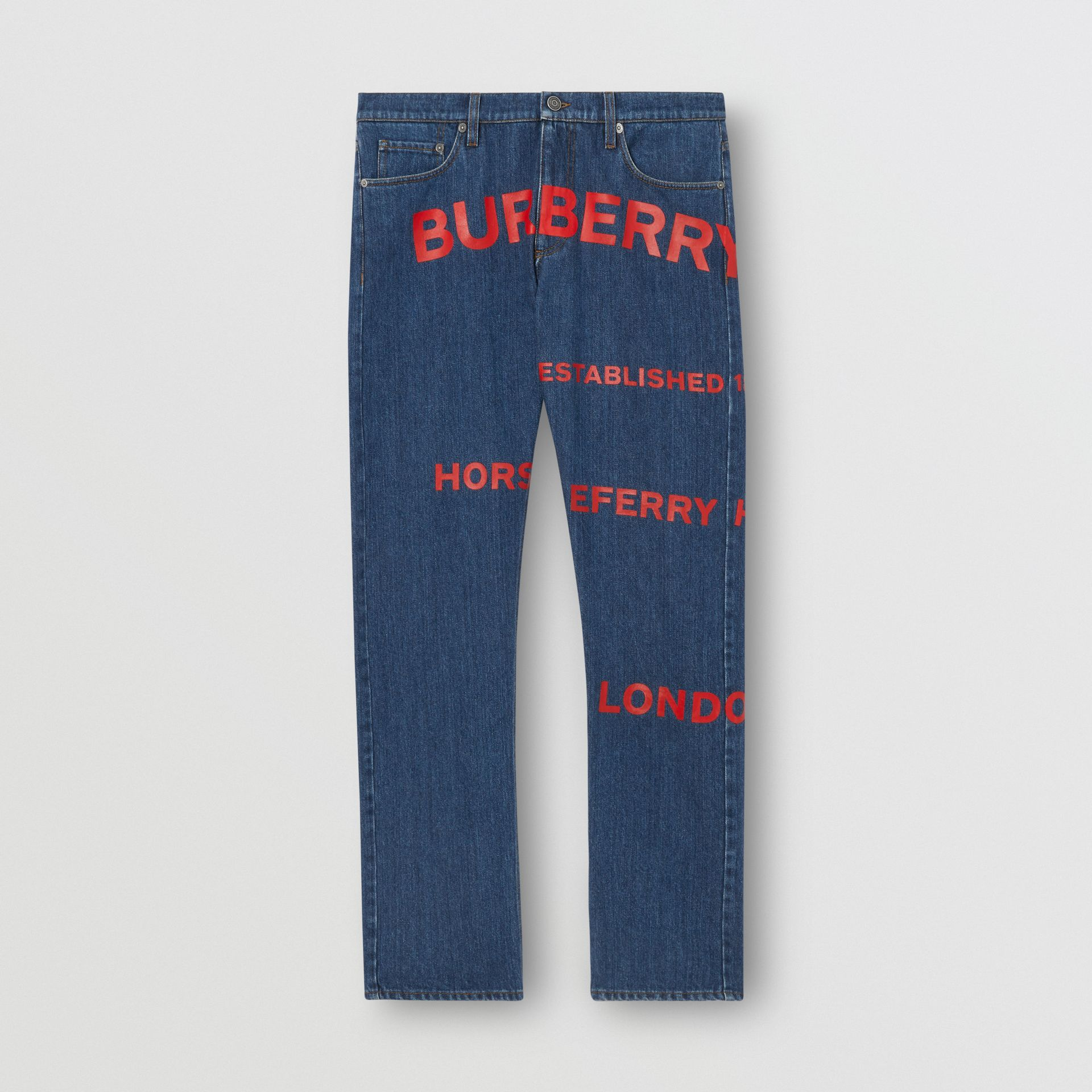 Straight Fit Horseferry Print Japanese Denim Jeans in Mid Indigo Blue - Men | Burberry - gallery image 3