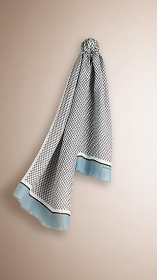 Écharpe en lin mélangé à imprimé géométrique
