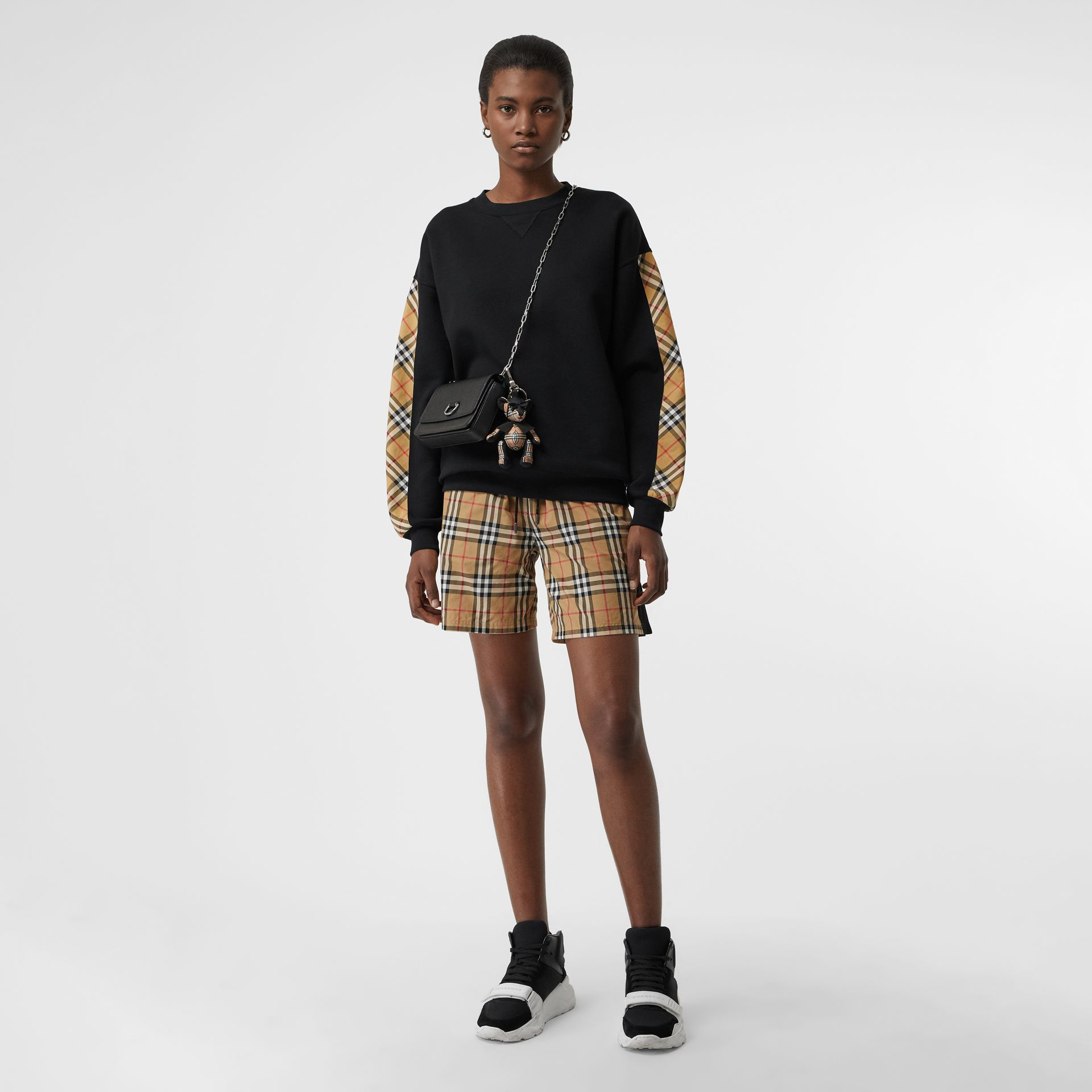 Vintage Check Detail Cotton Blend Sweatshirt in Black - Women | Burberry Australia - gallery image 4