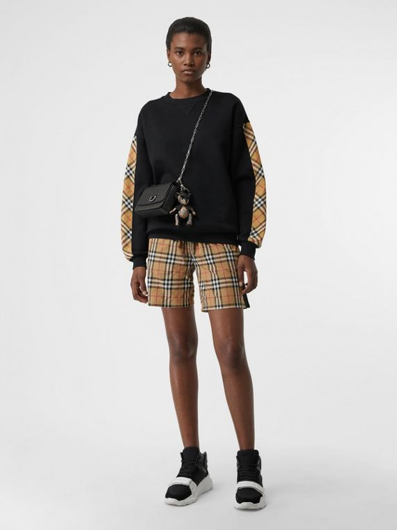 Vintage Check Detail Cotton Blend Sweatshirt in Black