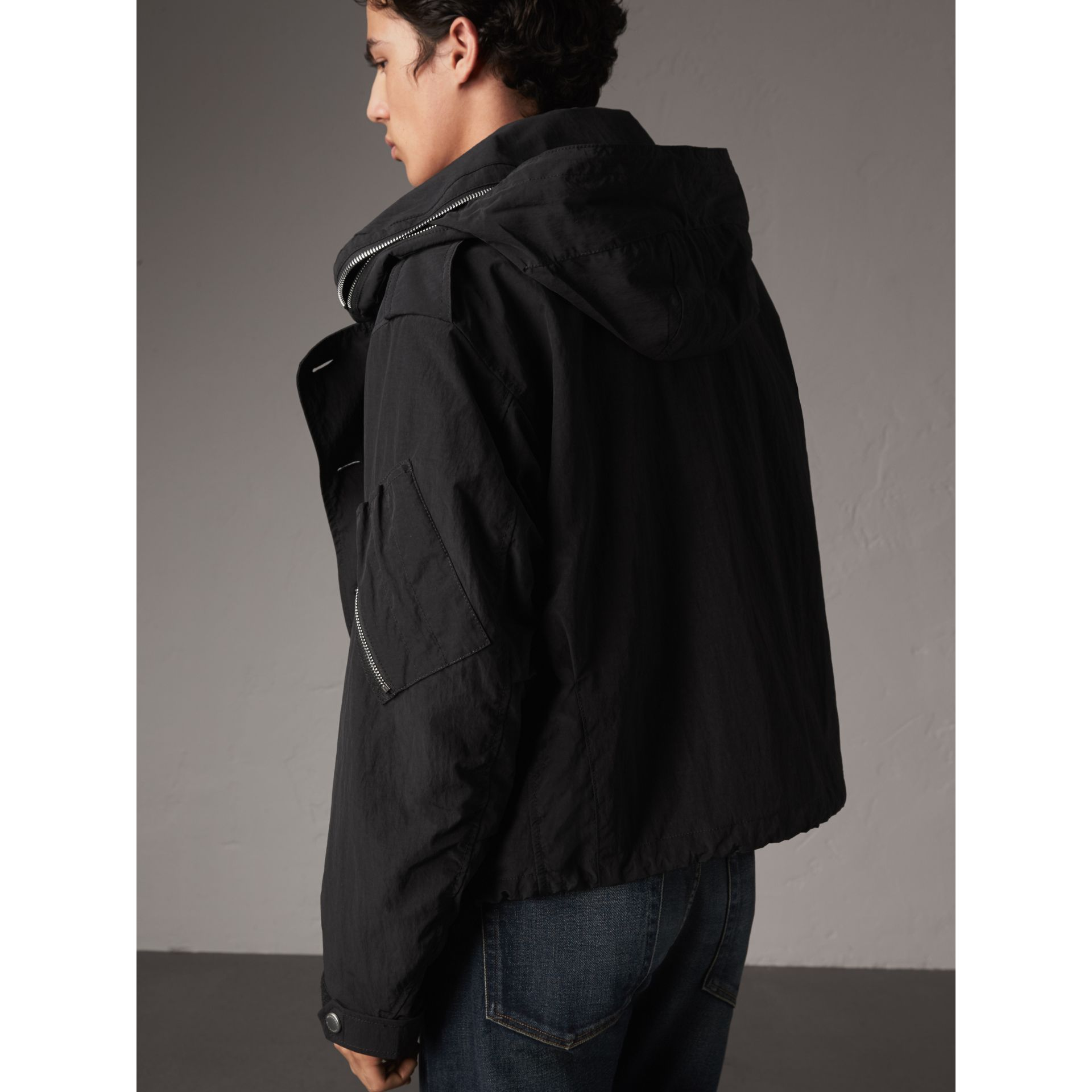 Rainproof Flyweight Jacket with Packaway Hood in Black - Men | Burberry - gallery image 3