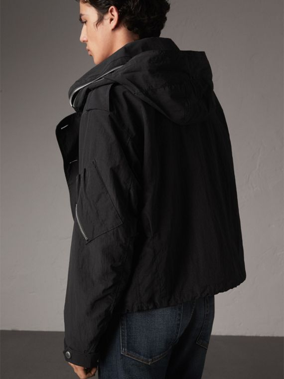 Rainproof Flyweight Jacket with Packaway Hood in Black - Men | Burberry - cell image 2
