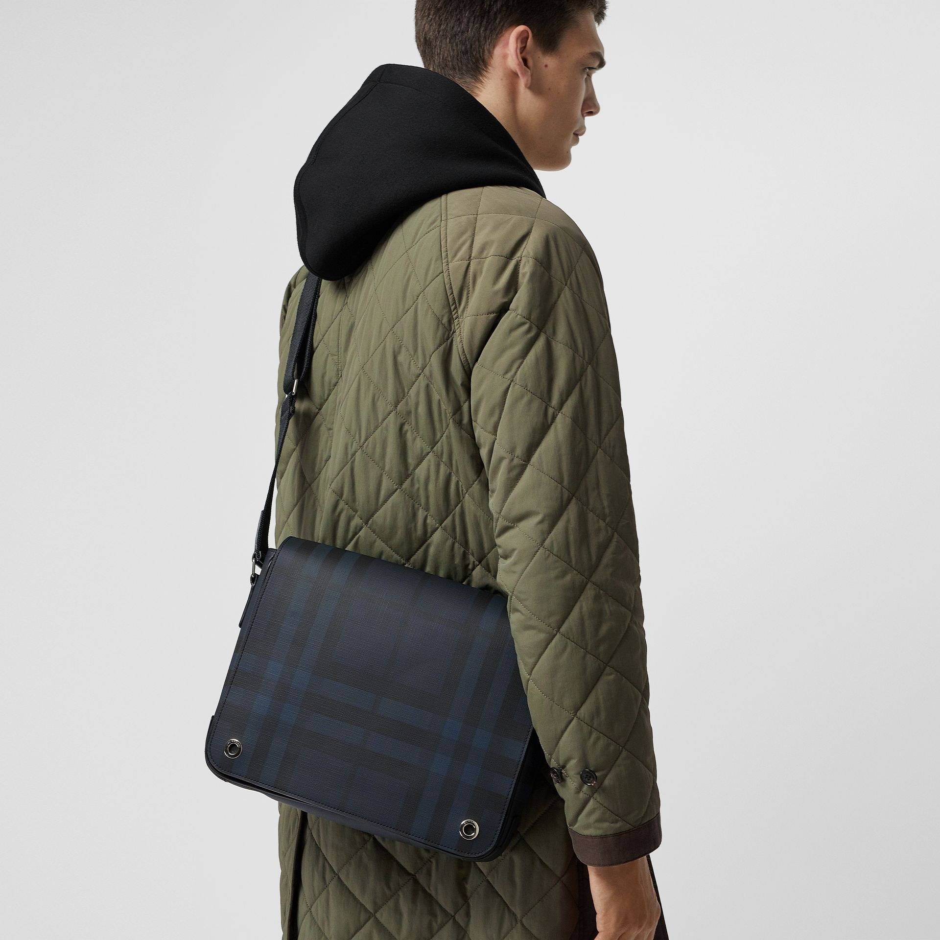 Small London Check Satchel in Navy/black - Men | Burberry - gallery image 3