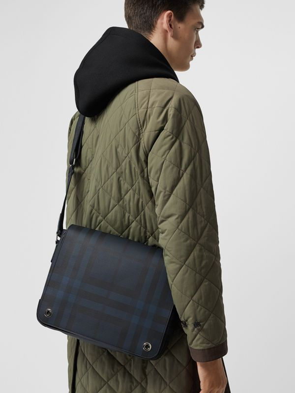Small London Check Satchel in Navy/black - Men | Burberry - cell image 3