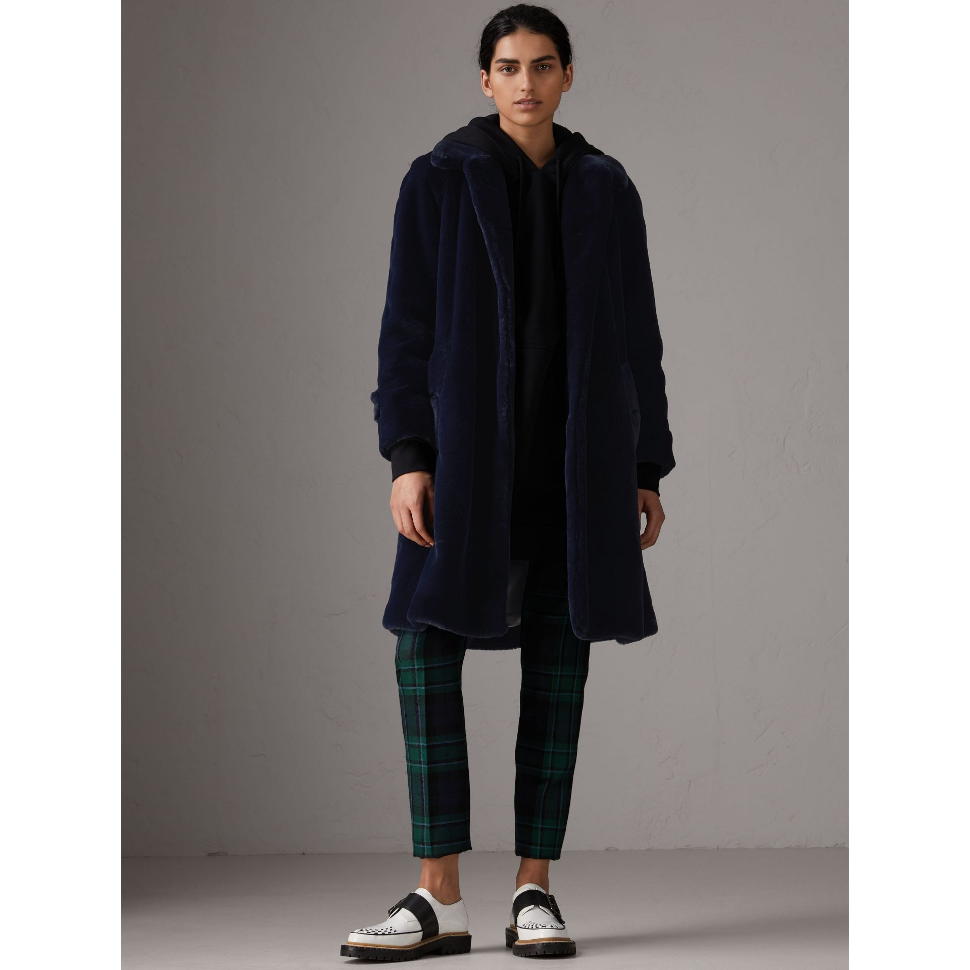 Faux Fur Single-breasted Car Coat in Navy - Women | Burberry - gallery image 6