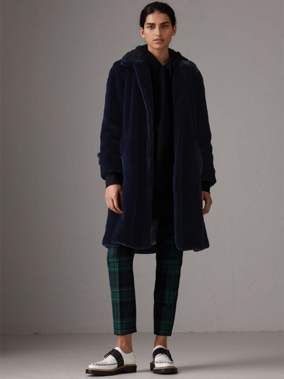 Faux Fur Single-breasted Car Coat in Navy