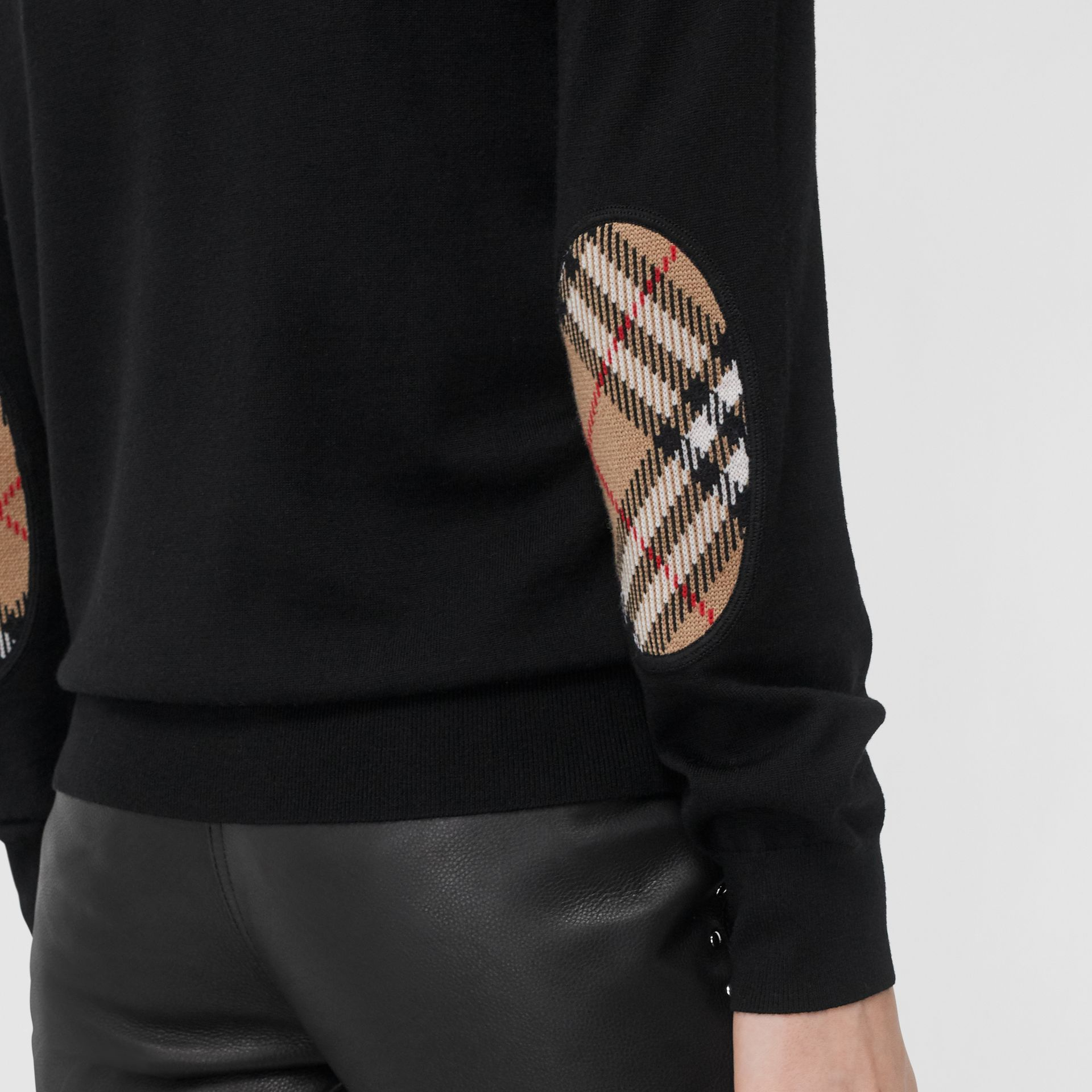 Vintage Check Detail Merino Wool Sweater in Black - Women | Burberry Hong Kong - gallery image 1