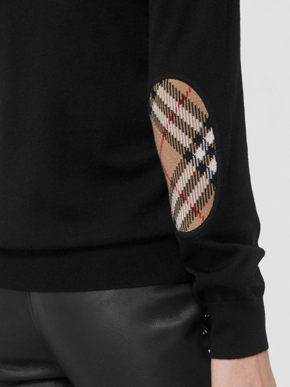 Vintage Check Detail Merino Wool Sweater in Black - Women | Burberry United Kingdom - cell image 1