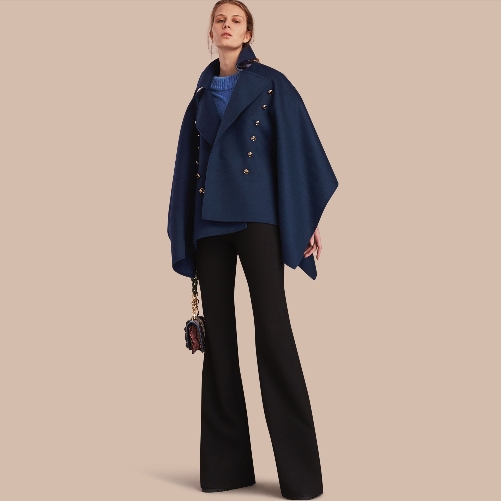 Military Button Wool Cashmere Blend Cape in Navy - gallery image 1