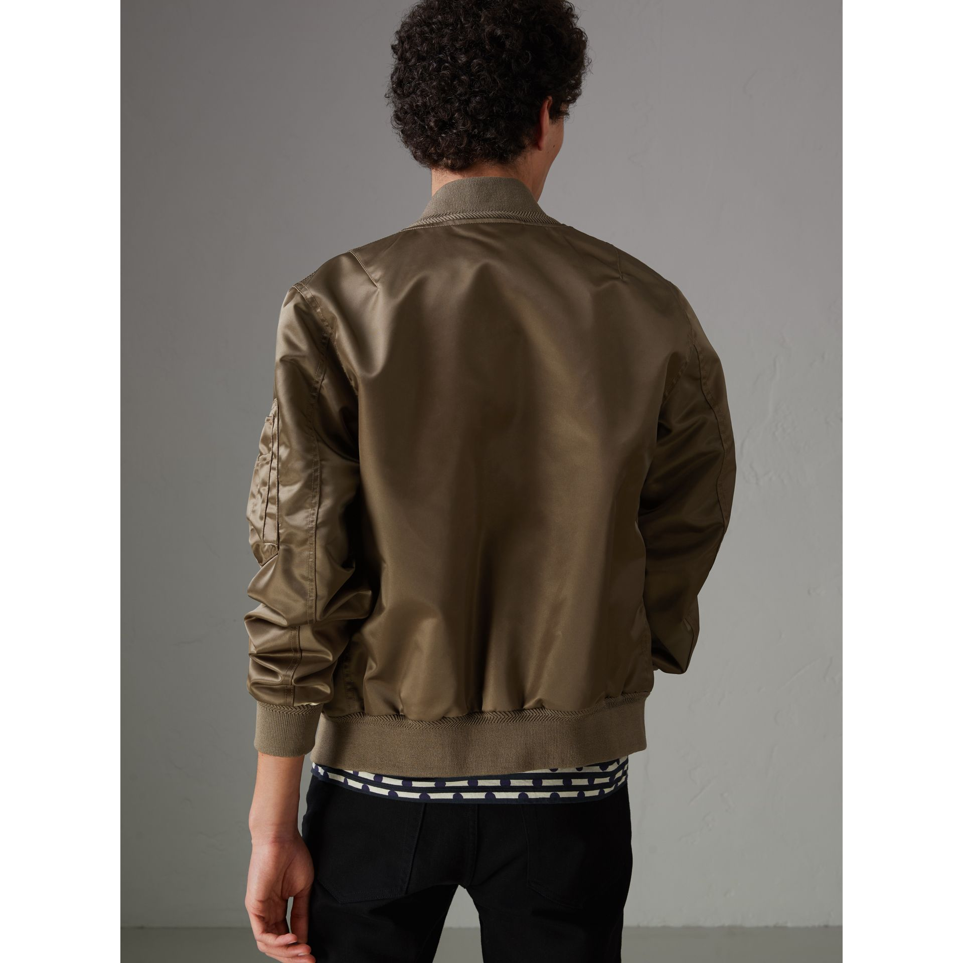 Satin Bomber Jacket in Dark Taupe - Men | Burberry - gallery image 2