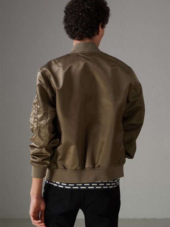 Satin Bomber Jacket in Dark Taupe - Men | Burberry - cell image 2