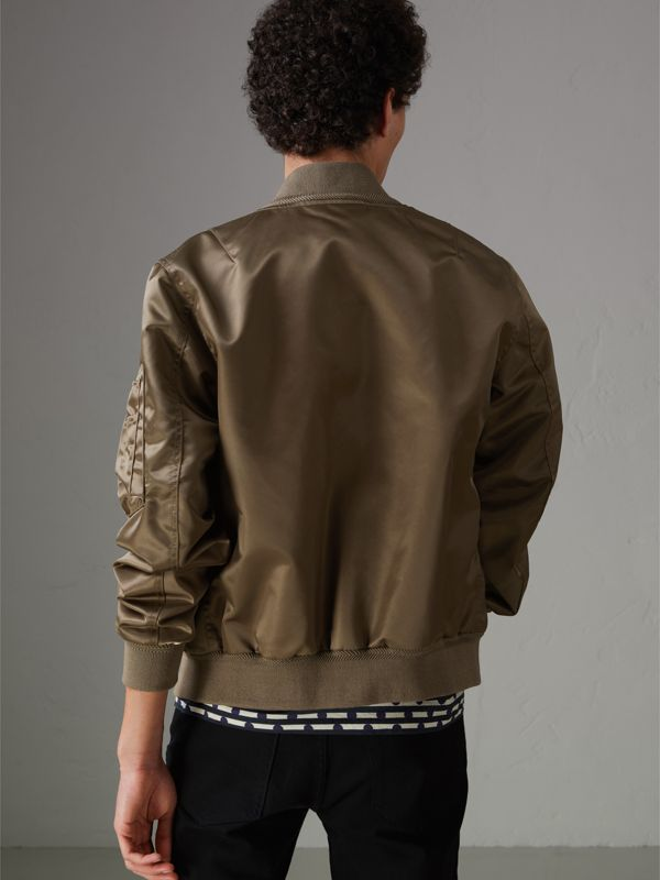 Satin Bomber Jacket in Dark Taupe - Men | Burberry United States - cell image 2