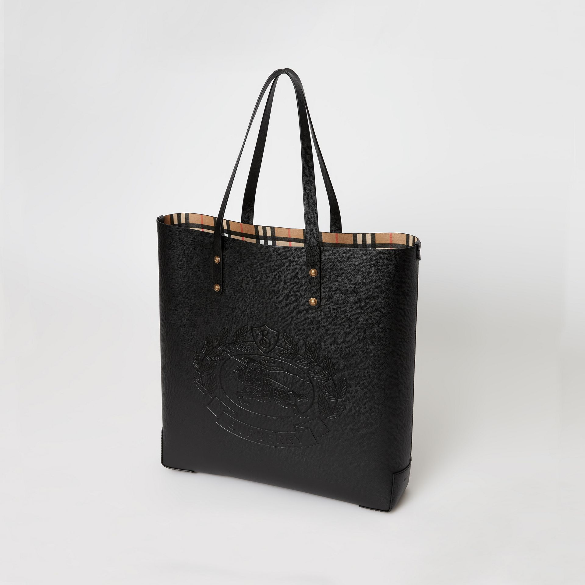 Large Embossed Crest Leather Tote in Black - Women | Burberry - gallery image 4