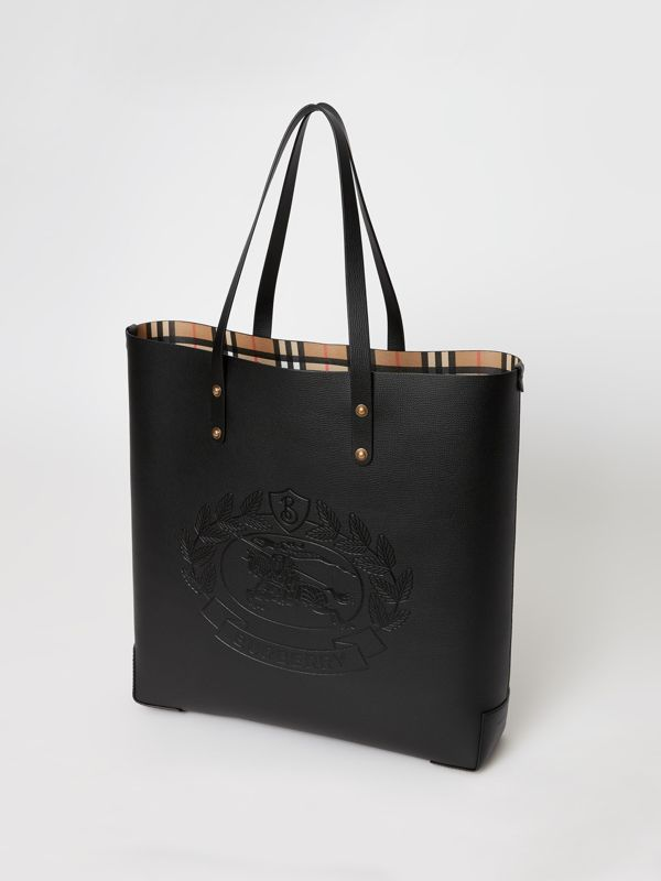 Embossed Crest Leather Tote in Black | Burberry - cell image 2