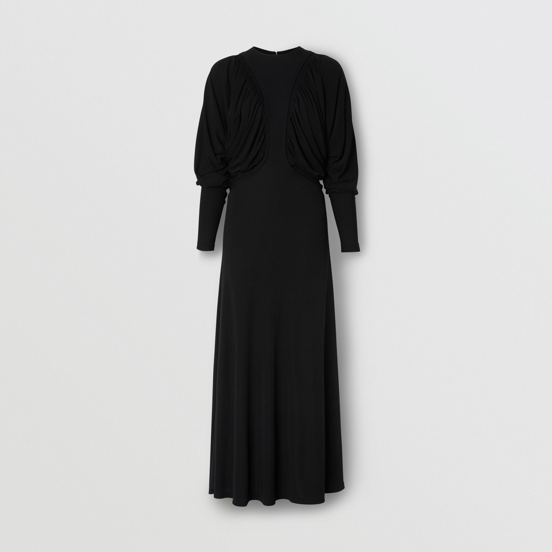 Ruched Panel Jersey Gown in Black - Women | Burberry - gallery image 3