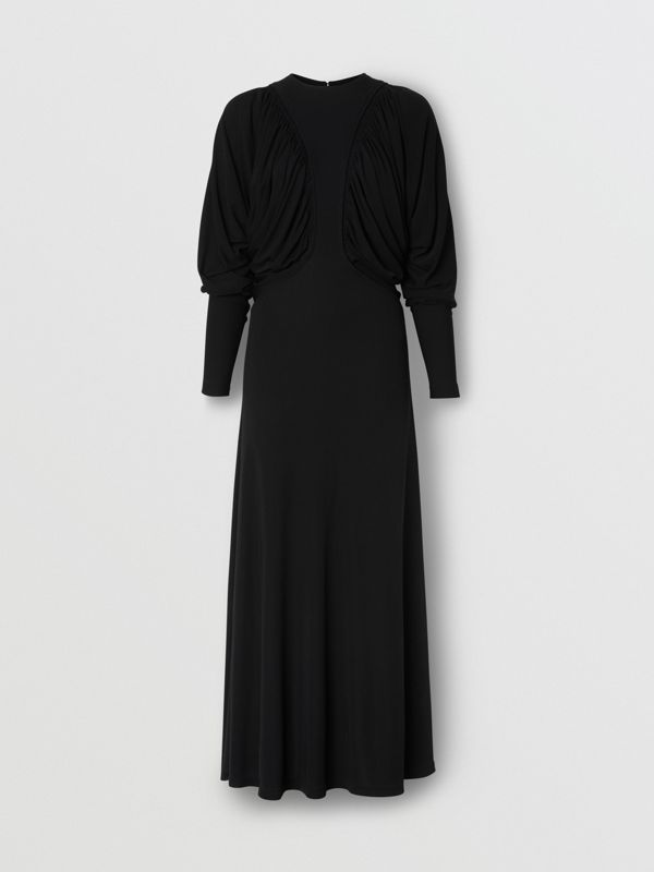 Ruched Panel Jersey Gown in Black - Women | Burberry United States - cell image 3