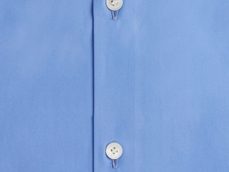 Mid blue Modern Fit Short-sleeved Cotton Poplin Shirt Mid Blue - cell image 1